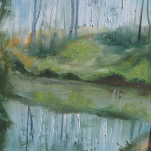 (CreativeWork) Platypus Pool by Linne B Pattenden. oil-painting. Shop online at Bluethumb.