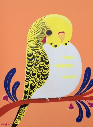 (CreativeWork) Mellow Yellow by emma whitelaw. Acrylic Paint. Shop online at Bluethumb.