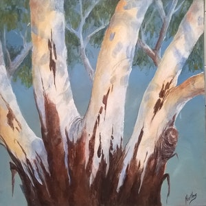 (CreativeWork) Red River Gums by Jenny Hartley. arcylic-painting. Shop online at Bluethumb.