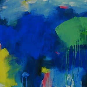 (CreativeWork) Into the blue by Susan Lhamo. arcylic-painting. Shop online at Bluethumb.