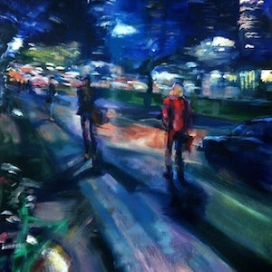 (CreativeWork) MELBOURNE NIGHT LIFE by Lynne Parfitt. oil-painting. Shop online at Bluethumb.