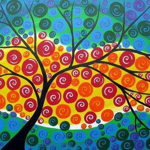(CreativeWork) Circle tree of life by Cathy Jacobs. arcylic-painting. Shop online at Bluethumb.