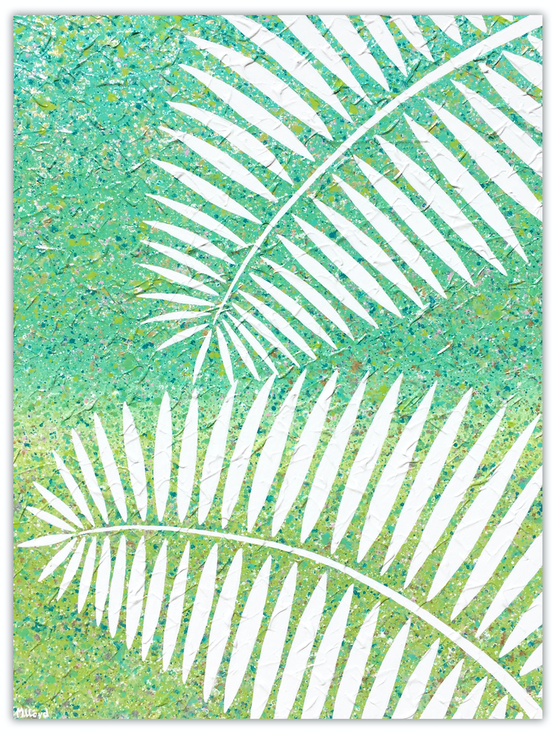 (CreativeWork) Palm Leaves - abstract (special) by Miranda Lloyd. mixed-media. Shop online at Bluethumb.