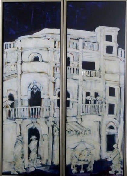 (CreativeWork) Searching (Diptych) by Sheila Posner. arcylic-painting. Shop online at Bluethumb.
