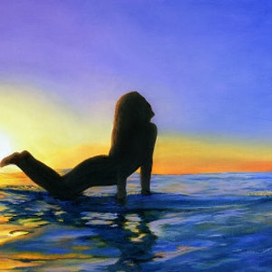 (CreativeWork) Sunset Surfer by Jo Burt. oil-painting. Shop online at Bluethumb.