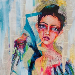 (CreativeWork) Narcissist Queen by Sharon England. mixed-media. Shop online at Bluethumb.