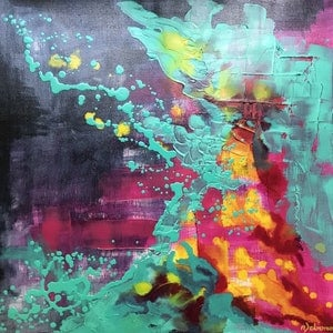 (CreativeWork) Psychedelic Splash by Nicole Debono. mixed-media. Shop online at Bluethumb.