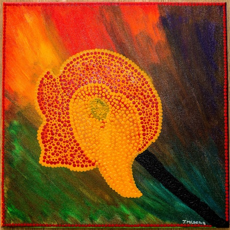 (CreativeWork) Faithful Lily by Janet Milera. Acrylic Paint. Shop online at Bluethumb.