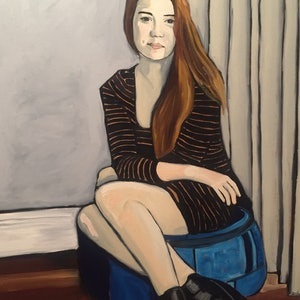 (CreativeWork) Portrait of Lilly by Sandra Jenkins. oil-painting. Shop online at Bluethumb.