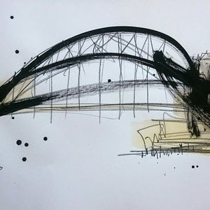 (CreativeWork) Harbour Bridge II by Nicole Maguire. mixed-media. Shop online at Bluethumb.