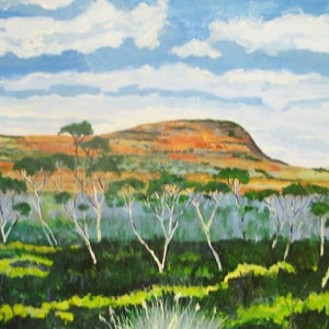 (CreativeWork) Gawler ranges hillside 2 by Andrew BARR. oil-painting. Shop online at Bluethumb.