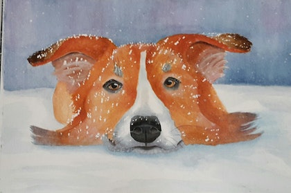 (CreativeWork) Hello, year of the dog by Svetlana Cook. watercolour. Shop online at Bluethumb.