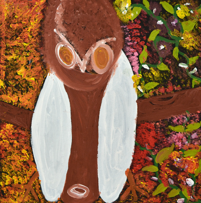 (CreativeWork) The Owl by Jane Mervin. arcylic-painting. Shop online at Bluethumb.