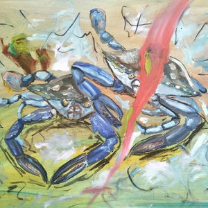 (CreativeWork) Blue Swimmer Crabs by Jacob Butler. mixed-media. Shop online at Bluethumb.