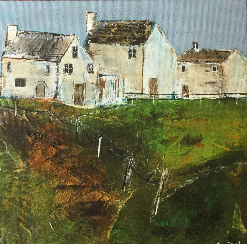 (CreativeWork) White Cottages by Gail Etheredge. mixed-media. Shop online at Bluethumb.