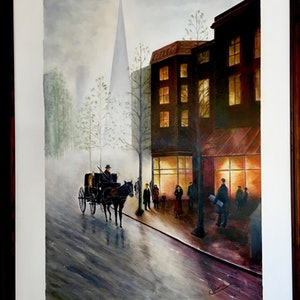 (CreativeWork) Old fashioned street by Carlo Valentini. arcylic-painting. Shop online at Bluethumb.