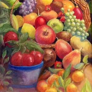 (CreativeWork) Fruit Basket by Sally Mitchell. oil-painting. Shop online at Bluethumb.