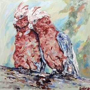 (CreativeWork) Galah Pair by Lurlene Murray. arcylic-painting. Shop online at Bluethumb.