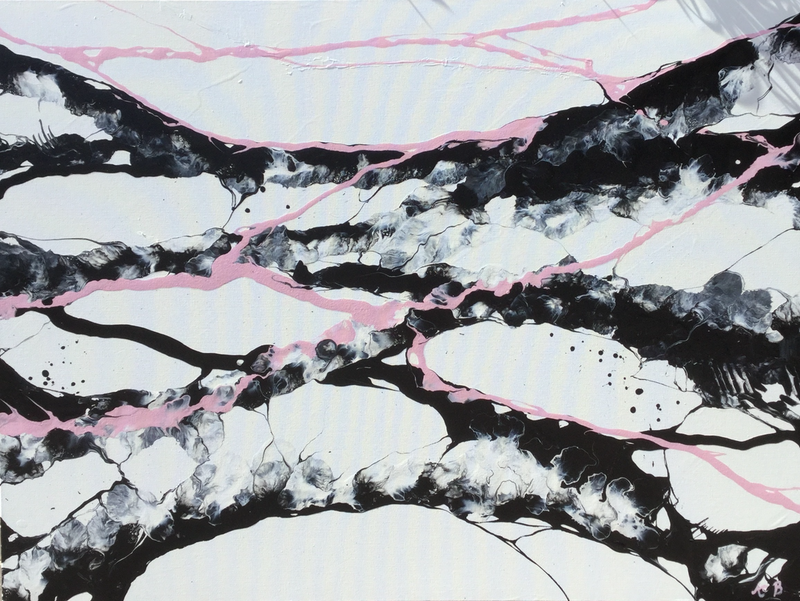 (CreativeWork) Pink and Grey by Amy Basnett. arcylic-painting. Shop online at Bluethumb.