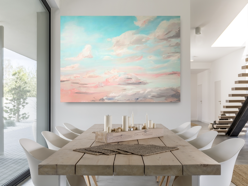(CreativeWork) Gathering Clouds by Kait Willis. arcylic-painting. Shop online at Bluethumb.
