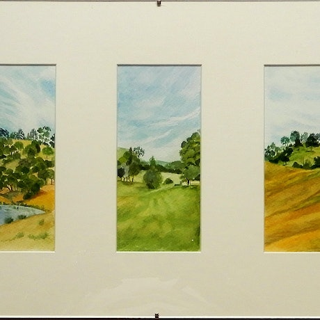 (CreativeWork) Dungog Triptych by Doodie Herman. Watercolour Paint. Shop online at Bluethumb.