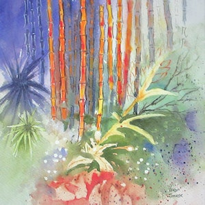 (CreativeWork) Red Bamboo by VERNA STORER. watercolour. Shop online at Bluethumb.