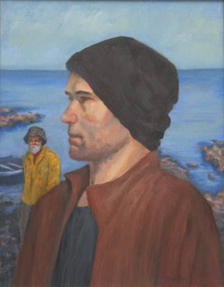 (CreativeWork) Seafarers by Lesley Shelley. Oil Paint. Shop online at Bluethumb.