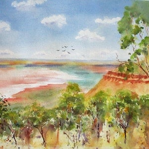 (CreativeWork) Cambridge Gulf by VERNA STORER. watercolour. Shop online at Bluethumb.