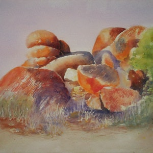 (CreativeWork) Devils Marbles by VERNA STORER. watercolour. Shop online at Bluethumb.