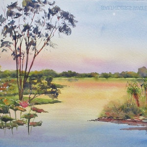 (CreativeWork) Yellow waters, Kakadu  by VERNA STORER. watercolour. Shop online at Bluethumb.