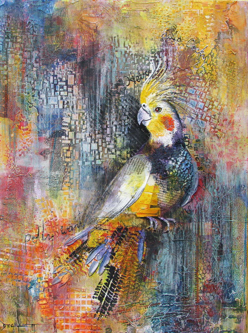 (CreativeWork) Who's a Pretty Boy? by De Gillett. mixed-media. Shop online at Bluethumb.