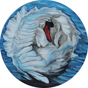 (CreativeWork) BLUE SWAN by Lily Iris. arcylic-painting. Shop online at Bluethumb.