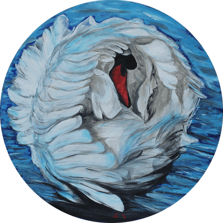 (CreativeWork) BLUE SWAN by Lily Iris. Acrylic Paint. Shop online at Bluethumb.