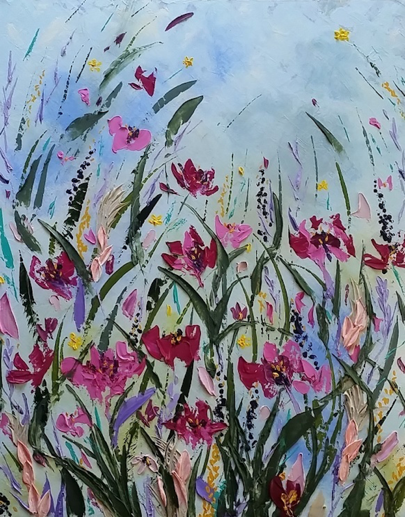 (CreativeWork) Summer Skies & Wildflowers by Desley Wilson. arcylic-painting. Shop online at Bluethumb.