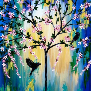 (CreativeWork) Bird under a tree by Cathy Jacobs. acrylic-painting. Shop online at Bluethumb.
