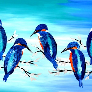 (CreativeWork) Kingfisher joy by Mark Humphries. arcylic-painting. Shop online at Bluethumb.
