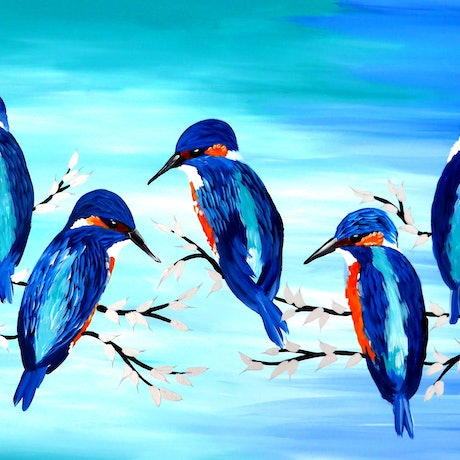 (CreativeWork) Kingfisher joy by Mark Humphries. Acrylic Paint. Shop online at Bluethumb.