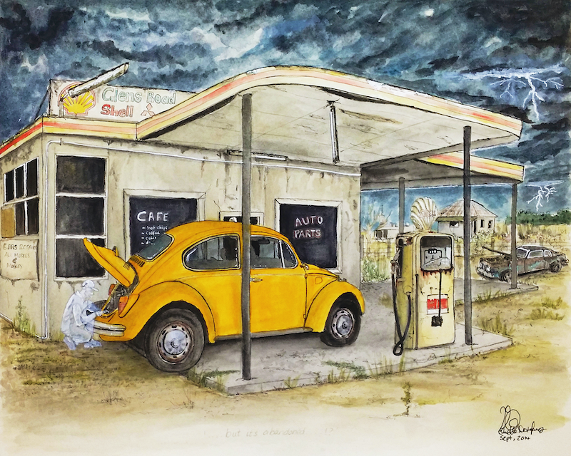 (CreativeWork) Abandoned Petrol Station Sheltering Taxi Ed. 7 of 100 by Chelle Destefano. print. Shop online at Bluethumb.