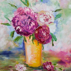 (CreativeWork) Peonies in vase by Anastasiia Sutula. oil-painting. Shop online at Bluethumb.