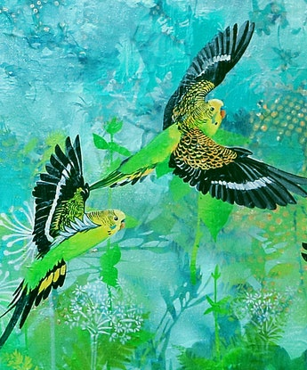 (CreativeWork) Budgies on a mission by Susan Skuse. Oil Paint. Shop online at Bluethumb.