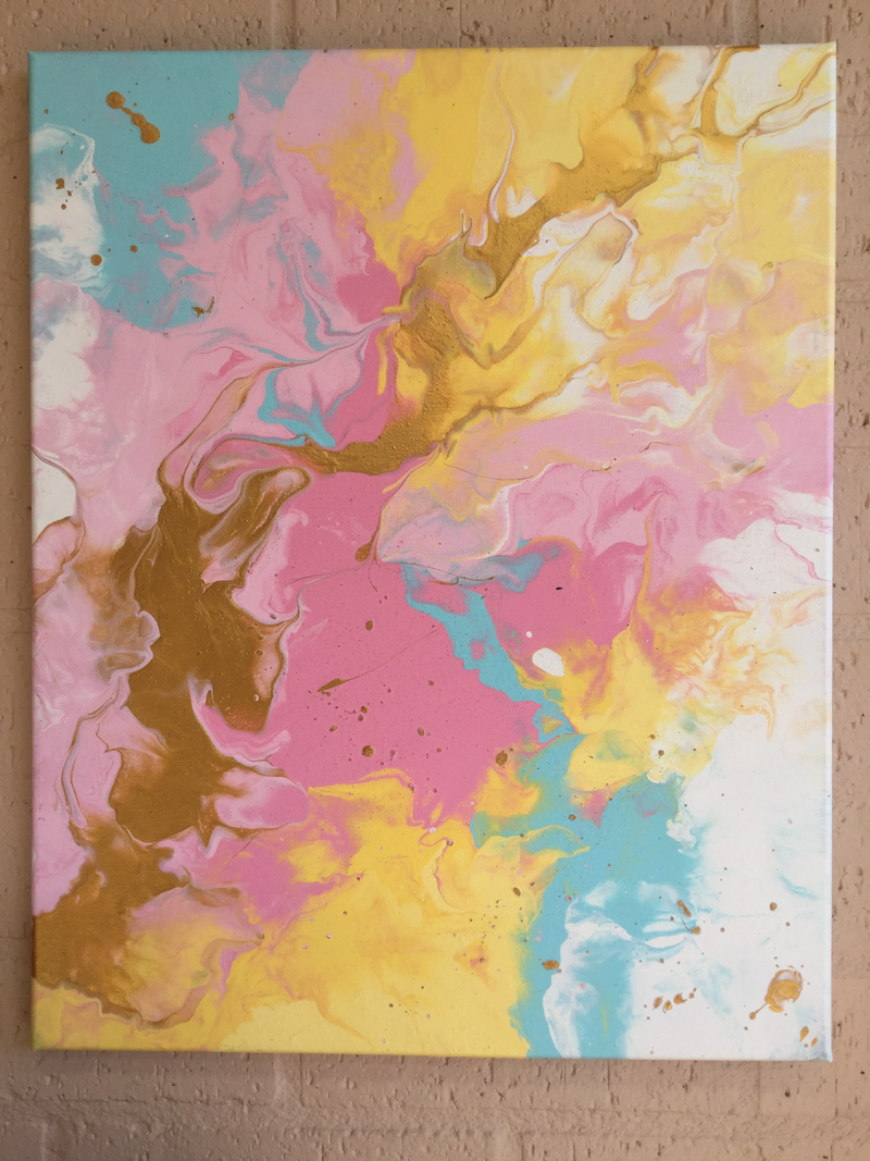 (CreativeWork) Over the Rainbow by Amy Basnett. arcylic-painting. Shop online at Bluethumb.