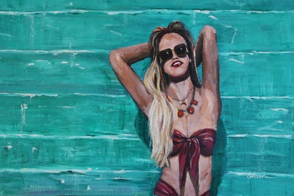 (CreativeWork) Summer by Cory Acorn. arcylic-painting. Shop online at Bluethumb.