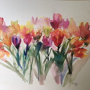 (CreativeWork) Field tulips .  by Ruth Bye. watercolour. Shop online at Bluethumb.