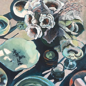 (CreativeWork) Settings: Brunch by Kobie Bosch. acrylic-painting. Shop online at Bluethumb.