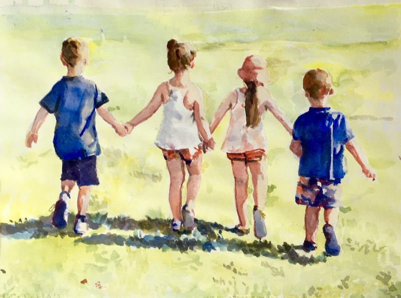 (CreativeWork) Walk by Pam Fox. watercolour. Shop online at Bluethumb.