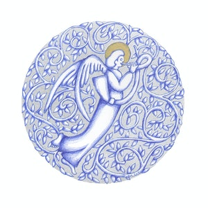 (CreativeWork) Silver Round Angel January 2018 by Donna Huntriss. drawing. Shop online at Bluethumb.