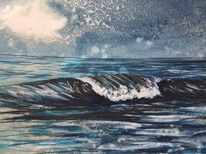 (CreativeWork) Moody Seas 1 by Denise Duffy. mixed-media. Shop online at Bluethumb.