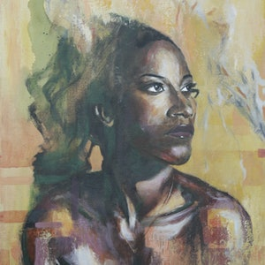 (CreativeWork) La Chica by Chris Bailey. arcylic-painting. Shop online at Bluethumb.