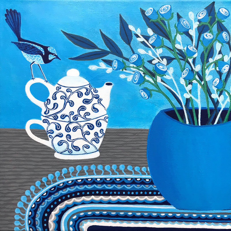 (CreativeWork) Tea Time With The Blue Wren by Lisa Frances Judd. arcylic-painting. Shop online at Bluethumb.