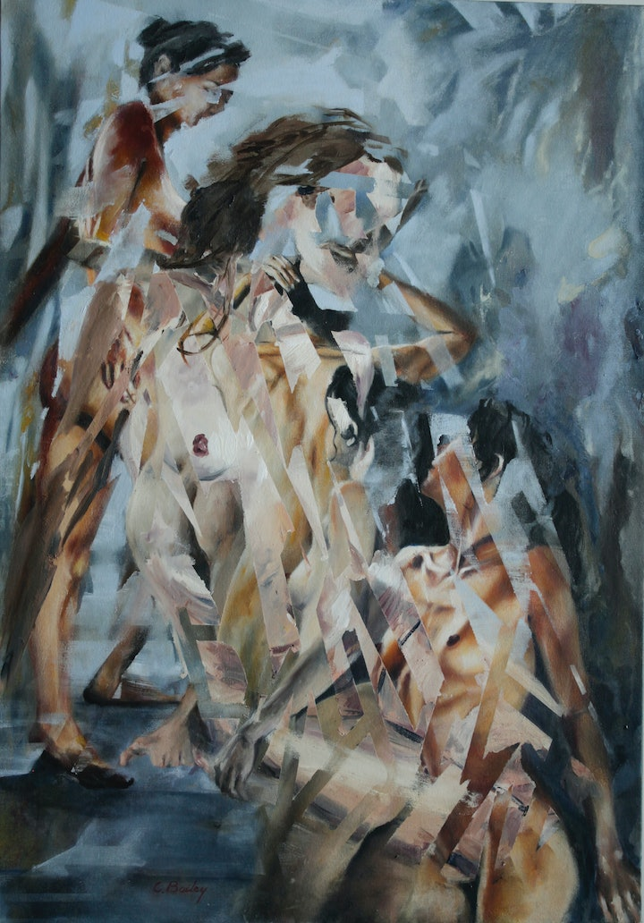 (CreativeWork) La Lucha by Chris Bailey. oil-painting. Shop online at Bluethumb.